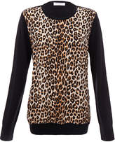 Equipment Roland Leopard Contrast Silk-Wool Jumper
