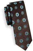 Haight And Ashbury Slim Geo Flower Silk Tie