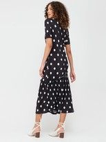 Very Polka Dot Plisse Asymmetrical Hem Dress - Black