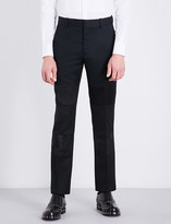 Alexander McQueen Silk panel regular-fit mid-rise mohair trousers