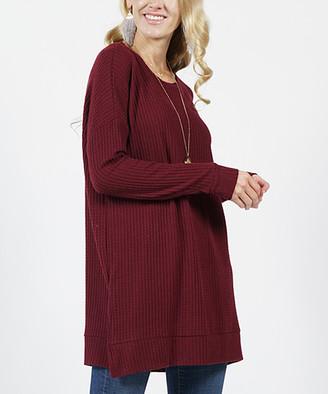 Lydiane Women's Pullover Sweaters DKBURGUNDY - Dark Burgundy Crewneck Straight-Hem Waffle-Knit Tunic - Women
