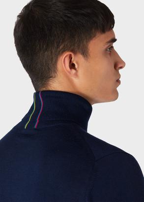 Paul Smith Men's Navy Merino-Wool Roll Neck Sweater