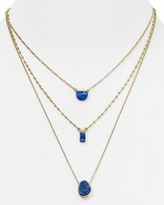 Aqua Christine Triple Strand Necklace, 15""