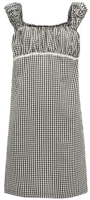 Solid & Striped Off The Shoulder Gingham Seersucker Mini Dress - Womens - Black White