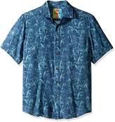 Margaritaville Men's Short Sleeve Tonal Bamboo Print Shirt