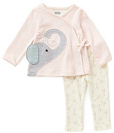 Mud Pie Baby Girls 6-12 Months Elephant-Applique Kimono Top & Giraffe-Print Pants Set