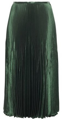Vince Pleated Satin Midi Skirt