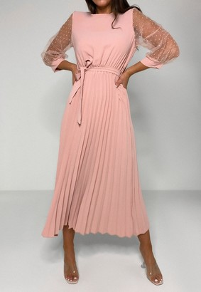 Missguided Pink Dobby Sleeve Pleated Skirt Midi Dress