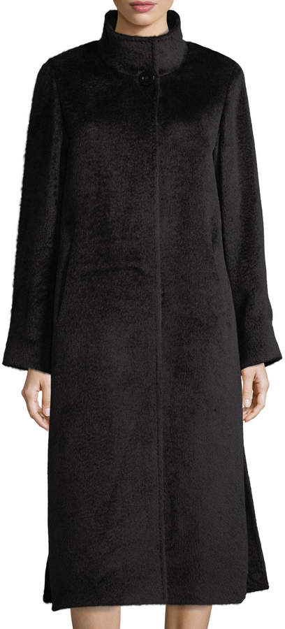 Cinzia Rocca Long Stand-Collar Alpaca-Blend Coat