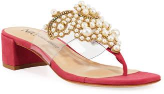 Neiman Marcus Pearly Suede Block-Heel Sandals