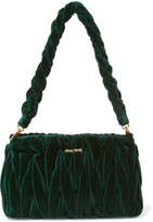 Miu Miu Matelassé Velvet Shoulder Bag - Emerald