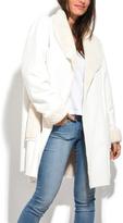 Everest White Faux Fur-Trim Button Coat