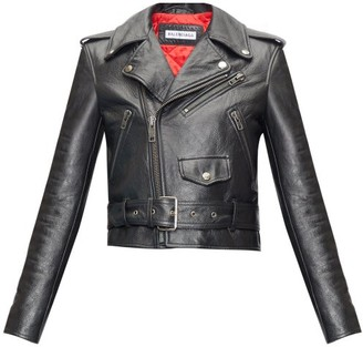 Balenciaga Grained-leather Cropped Biker Jacket - Black