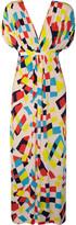 T-Bags Printed empire-waist silk maxi dress