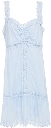 Charo Ruiz Ibiza Ruched Crocheted Lace And Cotton-blend Voile Mini Dress