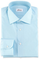 Brioni Micro-Check Cotton Dress Shirt, Aqua
