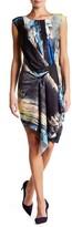 Rachel Roy Side Drape Print Dress