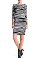 Bobeau Cocoon Elbow Sleeve Print Dress
