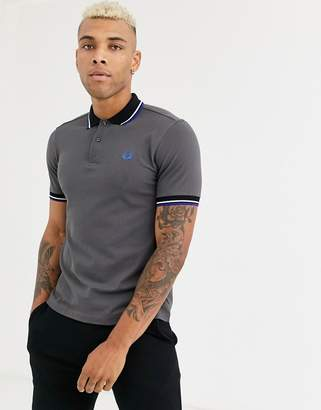 Fred Perry contrast rib polo shirt in grey