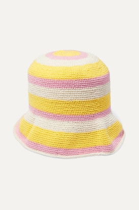 Faithfull The Brand Striped Crocheted Cotton Bucket Hat - Yellow