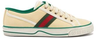 Gucci Tennis 1977 Web-striped Cotton-canvas Trainers - Cream Multi