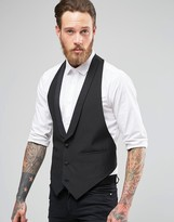 Asos Slim Fit Waistcoat With Shawl Collar