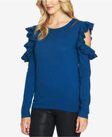 CeCe Ruffled Cold-Shoulder Sweater