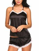 Avidlove Women Sleepwear Sexy Lingerie Satin 2 Piece Cami Shorts Pajama Set