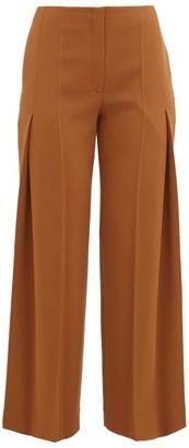 The Row Alexa Virgin Wool Pleated Trousers - Womens - Tan