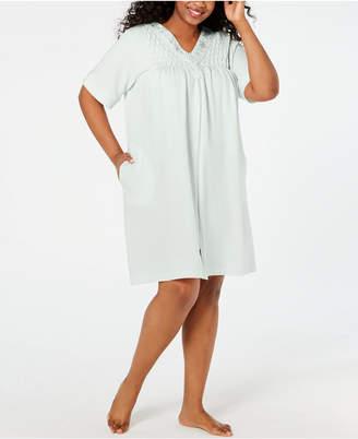 Miss Elaine Plus Size Smocked Waffle-Knit Zip Robe