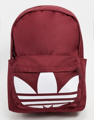 adidas backpack with oversized trefoil in burgundy