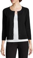 Liz Claiborne 3/4 Sleeve Button-Front Cardigan-Petites