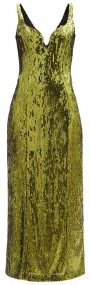 Galvan Savannah Sweetheart-neck Sequinned Dress - Khaki