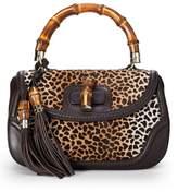 Gucci Cheetah Print Haircalf & Brown Leather Bamboo Top Handle Bag