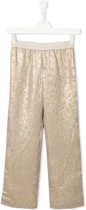 La Stupenderia Metallic Wide Leg Trousers