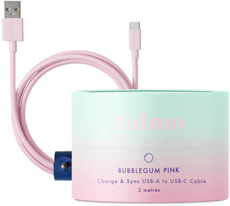 Talmo Charge and Sync 2m USB-C to USB-A Cable - Bubblegum Pink