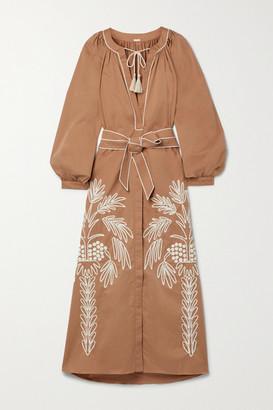 Johanna Ortiz + Net Sustain Expedition Belted Embroidered Stretch Cotton-blend Poplin Midi Dress - Camel