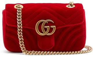 Gucci Gg Marmont Mini Quilted-velvet Cross-body Bag - Womens - Red