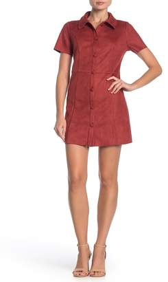 Day After Day Short Sleeve Button Faux Suede Dress