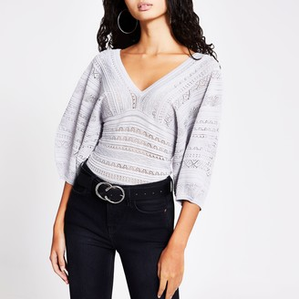 River Island Womens Silver pretty stitch puff sleeve top