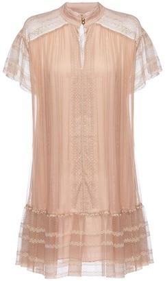 Nissa Lace Applique Silk Dress