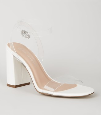 New Look Leather-Look Clear Strap Block Heels