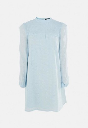 Missguided Blue Broderie Anglaise Smock Dress