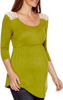 Asstd National Brand Maternity 3/4-Sleeve Lace-Back Babydoll Top - Plus