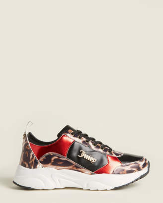 Juicy Couture Red & Leopard Enchanter Low-Top Sneakers