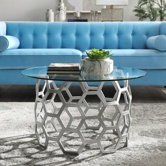 Everly Quinn Jaxton Geometric Iron Base Coffee Table Quinn