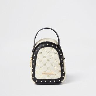 River Island Girls brown monogram raffia mini backpack