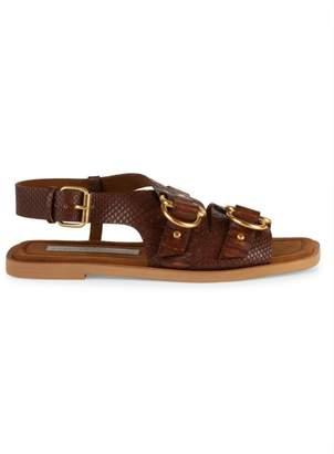 Stella McCartney Buckle Croc-Embossed Slingback Sandals