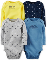 Carter's Baby Boys' 4-Pk. Long-Sleeve Graphic-Print Bodysuits
