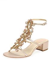 Rene Caovilla Crystal-Embellished Snakeskin City Sandal, White Pattern